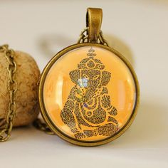 yoga elephant  vintage style pendant yellow by pendantsworld, Ft2400.00