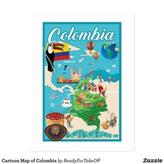 Shop Cartoon Map of Colombia Postcard created by ReadyForTakeOff. Colombia Map, Posters Amazon, Map Outline, Illustrator Cs5, Travel Maps, A Cartoon, Pictures To Draw, Postcard Size, Custom Posters
