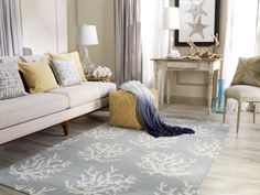 Coastal Decor. Blue Coral Rug.