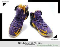 Masculino Roxo/Preto/Ouro 650884-007 Nike Lebron 12 P.S. Elite