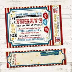 Circus Birthday Invitation with Wrap Around by ValeriePullam, $16.00