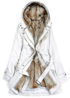 Stylish Hooded Long Sleeve Zippered Flocky With Belt Women's Coat
