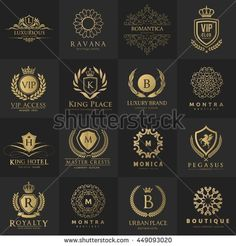 Luxury logo collection,Design for Boutique hotel,Resort,Restaurant, Royalty, Victorian identity, luxury Hotel, Heraldic, Fashion,VIP,Club,education  Full vector logo template.