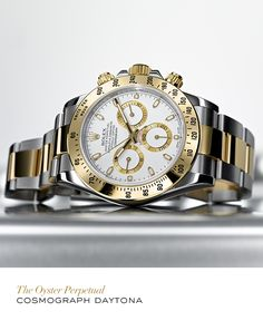 Rolex Cosmograph Daytona in yellow Rolesor. Rolex Cosmograph Daytona in yellow Rolesor. Rolex Cosmograph Daytona, Rolex Daytona, Rolex Watches For Men, Luxury Watches For Men, Stylish Watches, Cool Watches, Silver Pocket Watch, Hand Watch, Beautiful Watches