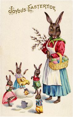 Colorful Vintage Easter Bunnies and Chicks Image!