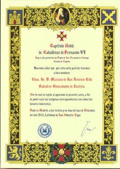 Diploma de Caballero Comendador de Justicia, del Noble Capitulo de Caballeros del Rey Fernando VI.