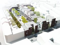 Les bandes de jardins hierarchisés 110 logements et une crèche à Lille, de Alzua