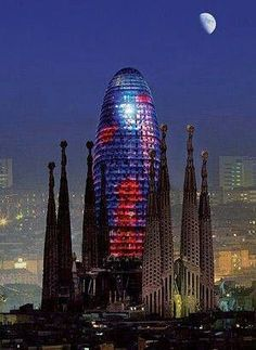 *SPAIN~Torre Agbar and Sagrada Familia in Barcelona, Catalonia Barcelona Hotels, Barcelona Catalonia, Barcelona Travel, Places Around The World, Travel Around The World, Around The Worlds, Places To Travel, Places To Visit, Madrid