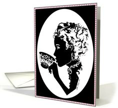 Victorian Silhouette Ladies Tea Teacup | Greeting Card Universe by AfterImage Art