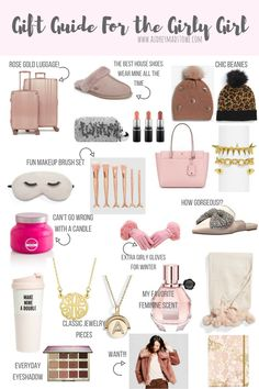 Girl Gifts Gift Guide For the Girly Girl Girly Gifts, Cute Gifts, Best Gifts, Sweet 16 Gifts, Diy Holiday Gifts, Holiday Gift Guide, Womens Christmas Gifts, Christmas Gifts For Girlfriend, Christmas Presents