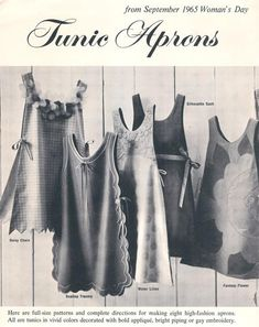 Woman's Day Tunic Aprons from September 1965 Woman's Day - Mail Order Out of the Ashes Collectibles