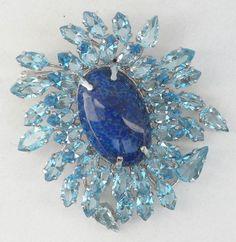 1961 Vtg Christian Dior Brooch Pin Pendant Blue Stones Huge Center stone