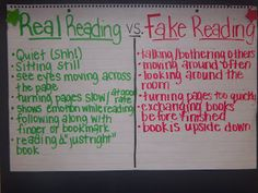 I like the idea of real vs fake reading so that students understand the expectations during independent reading Reading Strategies, Reading Skills, Teaching Reading, Teaching Tips, Learning, Reading Comprehension, Reading Stamina, Teaching Themes, Reading Logs