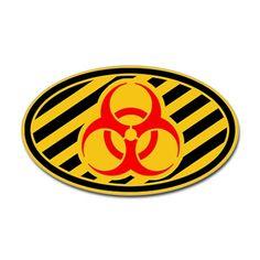 Biohazard Symbol Sticker  oval auto sticker.
