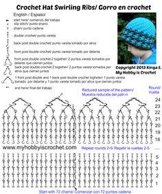Crochet Hat Swirling Ribs Charted Pattern Grafico gorro en crochet Crochet  Chart a9e48f038db
