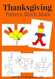 FREE Thanksgiving Pattern Block Mats | This Reading Mama