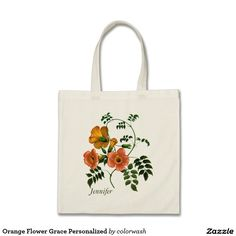 Orange Flower Grace Personalized Tote Bag - Tote your stuff in style with this graceful illustration of orange flowers. Personalize with a name, and the tote will be even that much more special. #tote #illustration