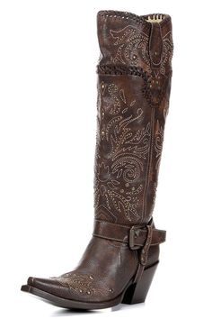 ON SALE & FREE SHIPPING! Corral Women's Stitched & Studded Tall Harness Cowgirl Boots