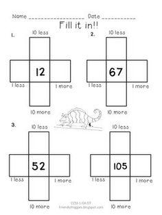 10 MORE, 10 LESS, FILL IN THE 100'S CHART - RAINFOREST THEMED - TeachersPayTeachers.com