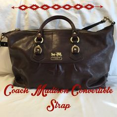 COACH Madison Sabrina Purse With Convertible Strap COACH Madison Sabrina Purse With Convertible Strap. Scratches on front and back. See photos for reference. Inside lining is clean. Comes with care instructions and convertible strap instructions. No dust bag. Coach Bags Satchels