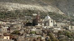 WS View of church in desert town / Real de Catorce, San Luis Potosi, Mexico