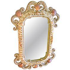 1stdibs | Large Natural Shell Encrusted Wall Mirror