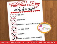 INSTANT DOWNLOAD - Valentines Candy Game, Valentine's Day Game, Valentines Party Games, Kids Valenti