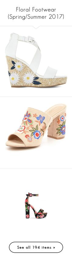 """""""Floral Footwear (Spring/Summer 2017)"""" by foolsuk ❤ liked on Polyvore featuring shoes, sandals, wedge shoes, leather ankle strap sandals, strappy wedge sandals, ankle wrap sandals, ankle strap wedge sandals, heels, mule shoes and heeled mules shoes"""