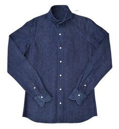 Luxire shirt constructed in Indigo Denim Chambray 8 Oz: http://custom.luxire.com/products/denim-shirt  Consists of cutaway collar and single button cuffs.
