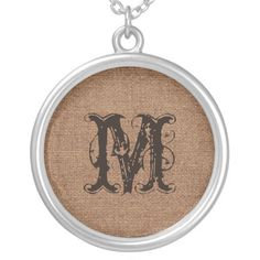 Brown and Faux Burlap Rustic Monogram Round Pendant Necklace  Rustic brown text, faux burlap, and sweet rustic style - your very own custom monogram. Accessorize with this fun necklace today!