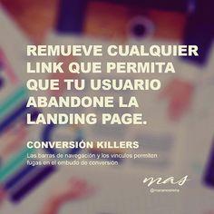 Reposting @marianosirena: Remueve cualquier link que permita que tu usuario abandone la #landingpage ☠️ #conversionkillers || Las barras de navegación y los vínculos permiten fugas en el embudo de #conversion .......................................................... #coaching #ebusiness #ecommerce #emarketing #empresa #entrepreneur #estrategias #growthacking #leadership #marketing #marketingdigital #marketingonline #mentoring #mkt #mobile #negocios #onlinemarketing #pymes #rentabilidad…