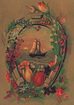 This is an interesting old advertising trade card that features a ship sailing on the sea and framed with a horseshoe. The horseshoe is embellished with pretty flowers, including Tulips, Lilacs and Lily of the Valley.