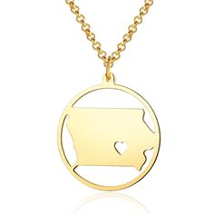 Jian Chen State Iowa Necklace With a Heart Cut Out - Custom Made Any Map Pendant Length 22 Inches Map Necklace, Circle Necklace, Gold Necklace, Circle Map, Heart Cut Out, Iowa, Special Gifts, Heart Shapes, Charmed