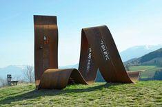Walther von der Vogelweide, Lajen/Laion (I) Wayfinding Signage, Signage Design, Facade Design, Environmental Graphic Design, Environmental Graphics, Landscape Art, Landscape Design, Monument Signage, Outdoor Signage