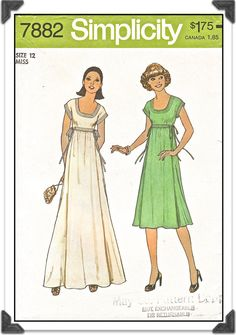 SIMPLICITY Pattern 7882 - Misses U-Neck High-waisted Dress in Two Lengths - Sz 12 B34 - Vintage 1970s. $5.00, via Etsy.