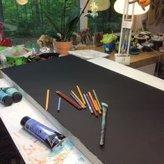 Sue Davis, Fort Wayne, Indiana.  The first thing i do is paint the canvas with black gesso.
