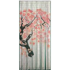 This hand-painted bead door hanging with a cherry blossom design is perfect for patios, porches and doorways, as room dividers, wall hangings or as a tropical window. This beaded curtain is made with 125 strands of natural bamboo.