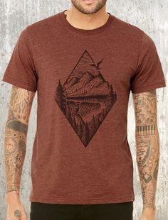 f78442c8f87ec River Mountain   Forest Men s T-Shirt - Men s Screen Printed T-Shirt