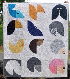 Oahu MQG's wee animals quilt (bubbles) -- Love the raccoon and the hedgehog