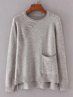 Shop Front Pocket Raglan Sleeve High Low Knitwear online. SheIn offers Front Pocket Raglan Sleeve High Low Knitwear & more to fit your fashionable needs.