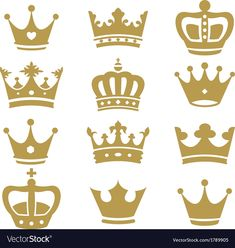 Crown collection - silhouette vector image on VectorStock King Y Queen, King And Queen Crowns, Crown Silhouette, Silhouette Vector, Simple Crown Tattoo, King Crown Drawing, Crown Stencil, Free Vector Images, Vector Free