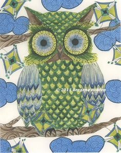 Whimsical Owl Painting Watercolor Archival Print by breanneholden, $21.00  Breanne is one of my newest discoveries....I LOVE her work!!! Check her out on Etsy!!!