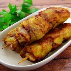 Potato-Wrapped Chicken Skewer. It's like eating chicken covered in a thin french fry.