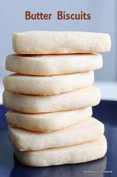 Sandhiya's Cookbook: Shortbread Cookies   Easy Cookie Recipe Egg Free Cookies, Basic Cookies, Buttery Cookies, Shortbread Cookies, Yummy Cookies, Delicious Cookie Recipes, Easy Cookie Recipes, Dessert Recipes, Yummy Food