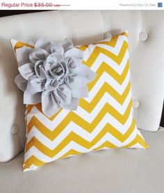 NEW YEARS SALE Gray Corner Dahlia on Mustard and White Zigzag Pillow 14 X 14 Chevron Flower - Pillows - Zig Zag Pillows