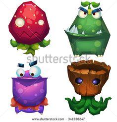 Illustration iSolated: Forest Monsters Set 1. Strawberry Monster, Green Skin Monster, Pelican Monster, Trunk Monster. Realistic Fantastic Cartoon Style Character Design.  - stock photo
