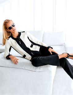 Eleganter Fleece-Anzug mit Reißverschluss in der Farbe schwarz / champagner - elfenbein - schwarz, weiß - im MADELEINE Mode Onlineshop