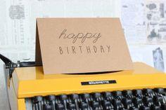 LBC Brown Kraft Paper Card : Happy Birthday with a Handwritten Look