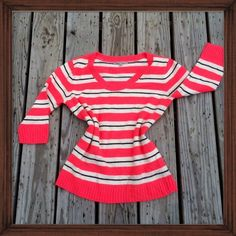 Gap Striped Sweater; NWOT This adorable Gap sweater features a pink white and black striped pattern. NWOT GAP Sweaters Crew & Scoop Necks
