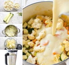 This Creamy Healthy Vegetable Soup is super low cal, gluten free and incredibly delicious. The secret - a seasoned broth made with peeled zucchini, cauliflower, onion and garlic. Cream Of Vegetable Soup, Creamy Vegetable Soups, Vegetable Soup Healthy, Veg Soup, Barley Soup, Easy Meat Recipes, Stuffing Recipes, Soup Recipes, Healthy Recipes